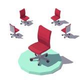 Isometrisk låg poly röd kontorsstol för vektor Arkivfoto