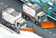 Isometrisk lastbil för snöplog i Front View Royaltyfri Bild