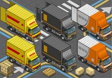 Isometrisk leveranslastbil i livré tre Arkivbilder