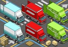Isometrisk leveranslastbil i livré tre Arkivfoto