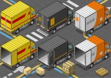 Isometrisk leveranslastbil i livré tre Arkivfoton