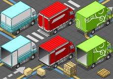 Isometrisk leveranslastbil i livré tre Fotografering för Bildbyråer