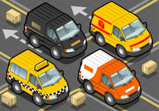 Isometrisk leveranslastbil och taxi i Front View Arkivfoto