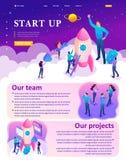 Isometrisk ljus start av unga entreprenörer stock illustrationer