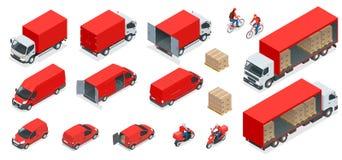 Isometrisk logistiksymbolsuppsättning av olikt trans. stock illustrationer