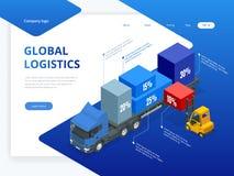 Isometrisk logistisk infographic mall med höger den lastbilpäfyllning och gaffeltrucken Kontrollera leverans- och ligisticsservic stock illustrationer