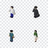 Isometrisk människauppsättning av pedagogen, man, kriminalareAnd Other Vector objekt Inkluderar också utbildaren, pojken, manbest vektor illustrationer