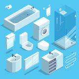 Isometrisk möblemangbeståndsdeluppsättning av badruminre klar vektor för nedladdningillustrationbild stock illustrationer