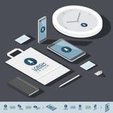 Isometrisk mall för företags identitet Royaltyfria Foton