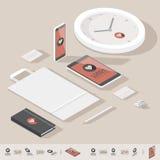 Isometrisk mall för företags identitet vektor illustrationer