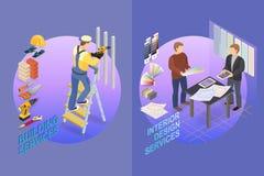 Isometrisk mall för hem- reparation Byggmästare och formgivare royaltyfri illustrationer