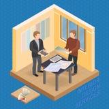 Isometrisk mall för hem- reparation Formgivare och kund vektor stock illustrationer