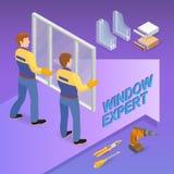 Isometrisk mall f?r hem- reparation Arbetare rymmer ett fönster royaltyfri illustrationer