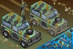 Isometrisk militär jeep med soldaten i Front View Royaltyfri Bild