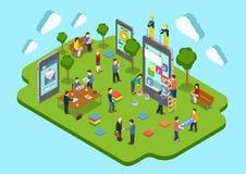 Isometrisk mobil rengöringsduk för lägenhet 3d för begrepp för applikationutveckling