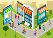 Isometrisk mobil shopping för plan rengöringsduk 3d, infographic begrepp för försäljningar Arkivbilder