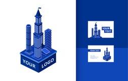 isometrisk modern skyskrapabaneruppsättning Royaltyfri Illustrationer