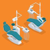 Isometrisk modern tandläkare Chair Isolated Utrustning i tand- kabinett Modern tand- övning royaltyfri illustrationer
