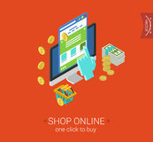 Isometrisk online-lägenhet 3d för lön för klick för köp för shoppingprocesswebsite Royaltyfri Bild