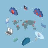 Isometrisk online-säkerhet för plan rengöringsduk 3d, data stock illustrationer