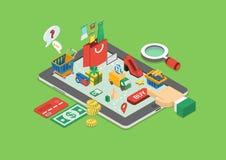Isometrisk online-shopping för plan rengöringsduk 3d, infographic begrepp för försäljningar Arkivbild