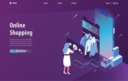 Isometrisk online-shopping, mobilt lager och e-kommers i smart telefon med purpurfärgad och blå bakgrund Modern landa sidarengöri vektor illustrationer