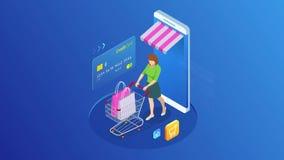 Isometrisk online-shopping och betalning, försäljning, consumerism och online-lager Mobil marknadsf?ring och e-kommers Internet royaltyfri illustrationer