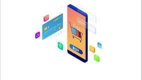 Isometrisk online-shopping och betalning, försäljning, consumerism och online-lager Mobil marknadsf?ring och e-kommers Internet vektor illustrationer
