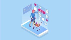 Isometrisk online-shopping och betalning, försäljning, consumerism och online-lager Mobil marknadsf?ring och e-kommers Internet stock illustrationer