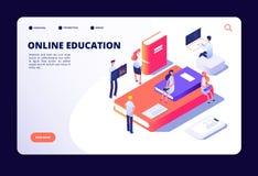 Isometrisk online-utbildning Internetgrupputbildning som studerar i on-line klassrum Kurser utbildningsteknologivektor stock illustrationer