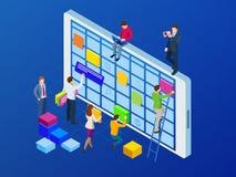 Isometrisk online-veckoledning för schema- och kalenderstadsplanerareorganisation på smartphonen eller minnestavlan Framställning royaltyfri illustrationer