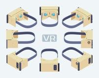 Isometrisk pappvirtuell verklighethörlurar med mikrofon Royaltyfri Bild
