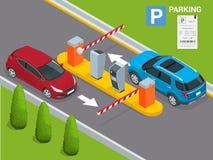 Isometrisk parkeringsbetalningstation, åtkomstskyddbegrepp Maskiner för parkeringsbiljett och operatörer för barriärportarm är royaltyfri illustrationer