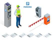 Isometrisk parkeringsdeltagare Maskiner för parkeringsbiljett och operatörer för barriärportarm installeras på ingången och Arkivbilder