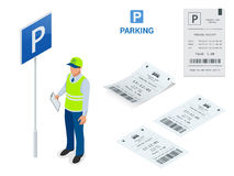 Isometrisk parkeringsdeltagare Maskiner för parkeringsbiljett och operatörer för barriärportarm installeras på ingången och Royaltyfri Foto