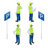 Isometrisk parkeringsdeltagare Trafikvakt och att få mandatet för parkeringsbiljett eller för parkeringsbiljett fint Plan illustr Arkivbilder