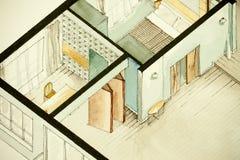 Isometrisk partisk arkitektonisk vattenfärgteckning av lägenhetgolvplanet Fotografering för Bildbyråer