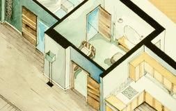 Isometrisk partisk arkitektonisk vattenfärgteckning av lägenhetgolvplanet som symboliserar konstnärlig inställning till fastighet Royaltyfri Foto