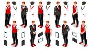 Isometrisk Person Work Icon Set Collection vektorillustration Arkivfoto