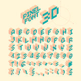 Isometrisk PIXELstilsort, vektorbokstäver, alfabet Arkivfoton