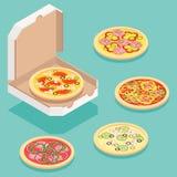 Isometrisk pizza Arkivbild