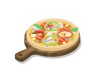 Isometrisk pizza för vektor med fisken, räka, lök, paprika royaltyfri illustrationer
