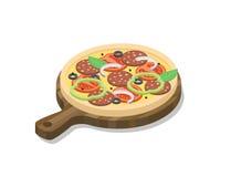 Isometrisk pizza för vektor med salami, lök, ost, basilika, paprika, oliv som är trä stock illustrationer
