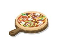 Isometrisk pizza för vektor med skinka, champinjoner, paprika, oliv, havre, lök royaltyfri illustrationer