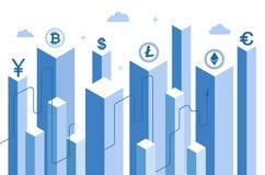 Isometrisk plan bakgrund crypto bitcoin och att bryta serverlantgårdrum, isometrisk investering för faktisk valuta in i cryptocur arkivbilder