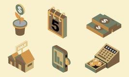Isometrisk plan designsymbolsfinans ställer in 4 Arkivfoton