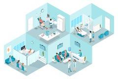 Isometrisk plan inre av gynekologisjukhuset vektor illustrationer