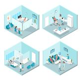 Isometrisk plan inre av gynekologisjukhusrum royaltyfri illustrationer