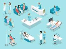 Isometrisk plan inre av gynekologitillvägagångssätt i sjukhus stock illustrationer