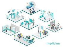 Isometrisk plan inre av sjukhusrum, apotek, kontor för doktors` s, Arkivbild